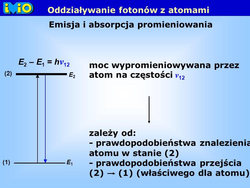 Emisja i absorpcja promieniowania E 2 – E 1 = h ν 12 moc wypromieniowywana przez atom na częstości ν 12 E1E1 E2E2 (2) (1) zależy od: - prawdopodobieństwa znalezienia atomu w stanie (2) - prawdopodobieństwa przejścia (2) (1) (właściwego dla atomu) Oddziaływanie fotonów z atomami