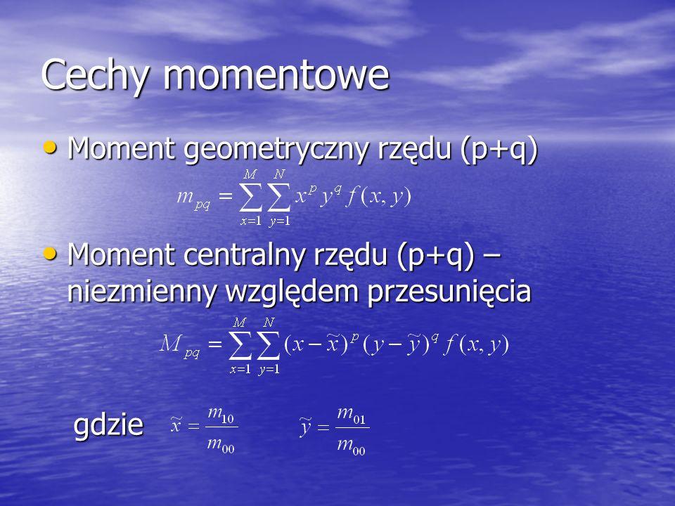 Cechy momentowe Moment geometryczny rzędu (p+q) Moment geometryczny rzędu (p+q) Moment centralny rzędu (p+q) – niezmienny względem przesunięcia Moment