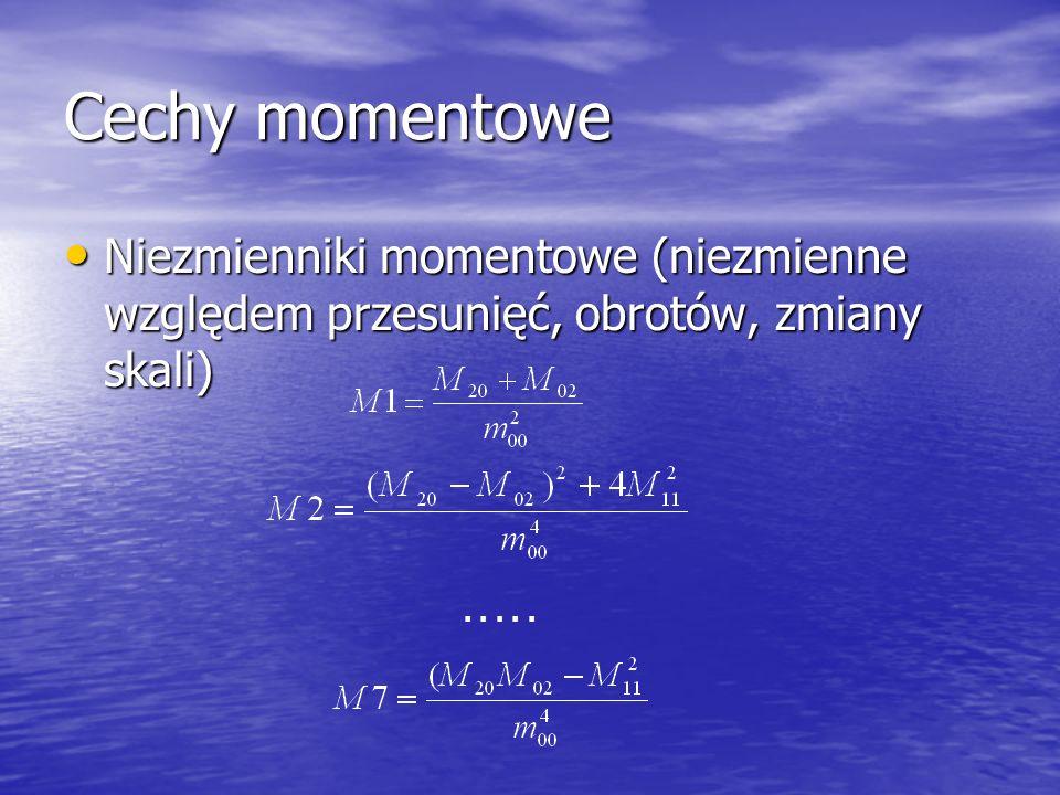 Cechy momentowe Niezmienniki momentowe (niezmienne względem przesunięć, obrotów, zmiany skali) Niezmienniki momentowe (niezmienne względem przesunięć,