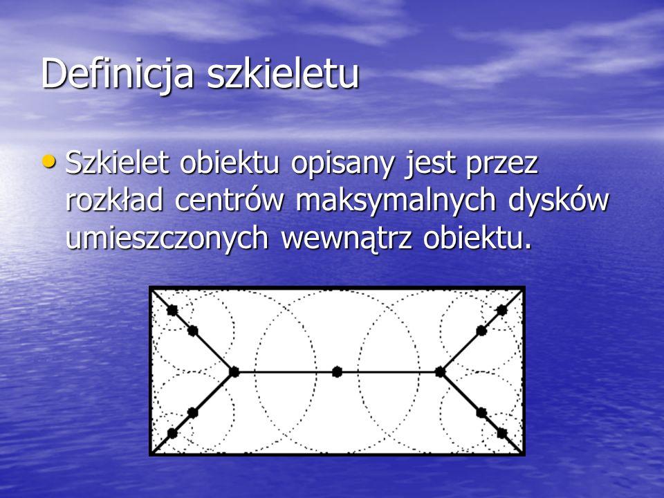 Definicja szkieletu Szkielet obiektu opisany jest przez rozkład centrów maksymalnych dysków umieszczonych wewnątrz obiektu. Szkielet obiektu opisany j