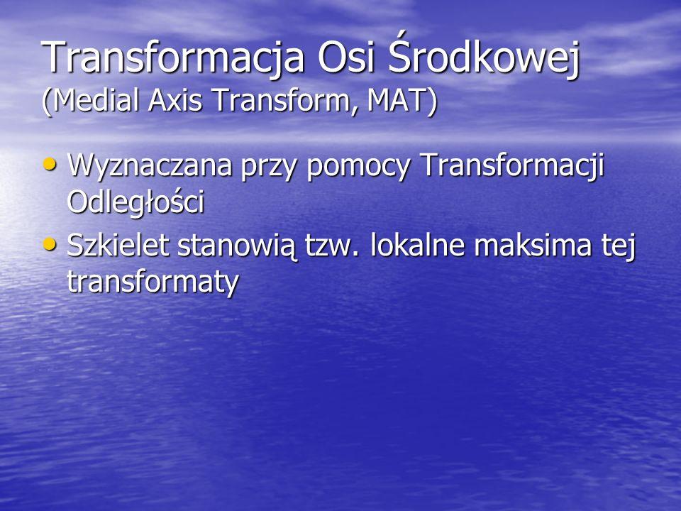 Transformacja Osi Środkowej (Medial Axis Transform, MAT) Wyznaczana przy pomocy Transformacji Odległości Wyznaczana przy pomocy Transformacji Odległoś