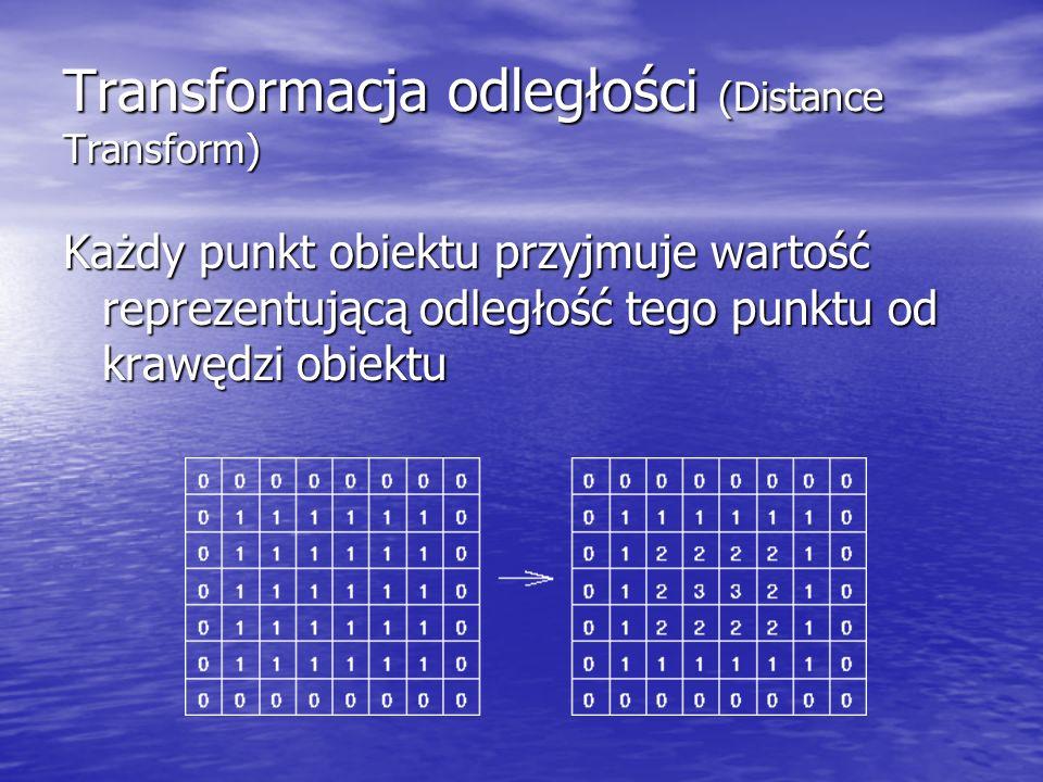 Transformacja odległości (Distance Transform) Każdy punkt obiektu przyjmuje wartość reprezentującą odległość tego punktu od krawędzi obiektu