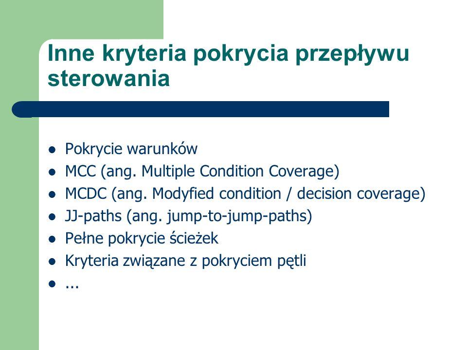 Inne kryteria pokrycia przepływu sterowania Pokrycie warunków MCC (ang.