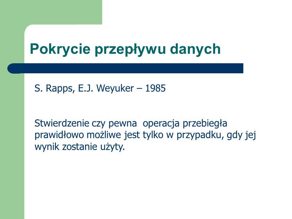Pokrycie przepływu danych S. Rapps, E.J. Weyuker – 1985 Stwierdzenie czy pewna operacja przebiegła prawidłowo możliwe jest tylko w przypadku, gdy jej