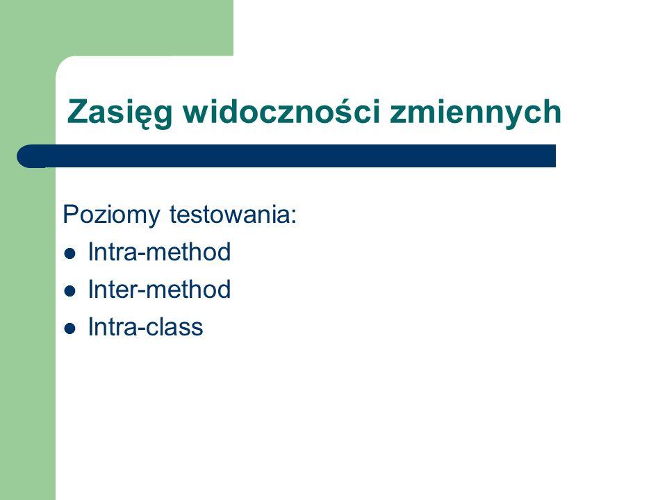 Zasięg widoczności zmiennych Poziomy testowania: Intra-method Inter-method Intra-class