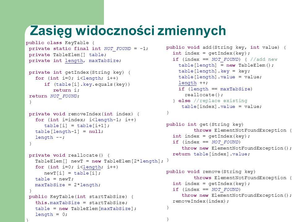 public class KeyTable { private static final int NOT_FOUND = -1; private TableElem[] table; private int length, maxTabSize; private int getIndex(Strin