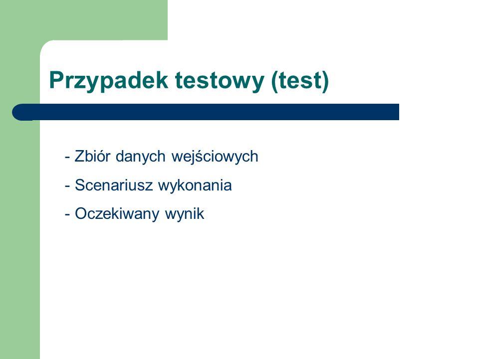 Przypadek testowy (test) - Zbiór danych wejściowych - Scenariusz wykonania - Oczekiwany wynik