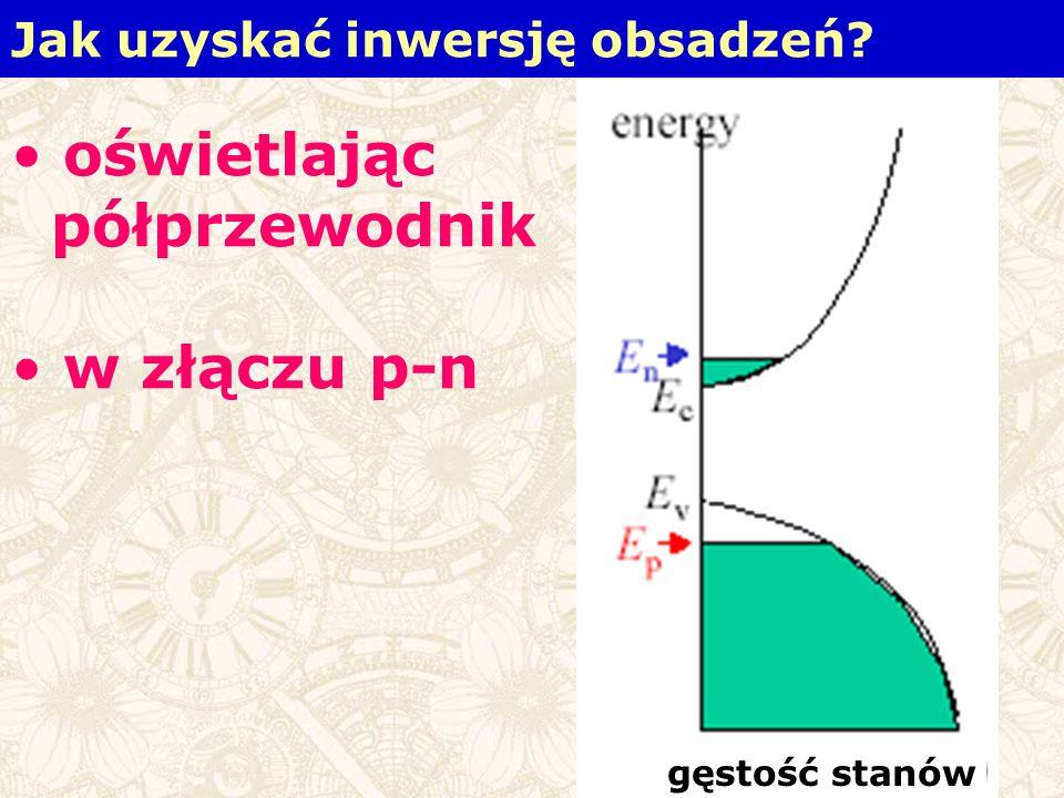 Jak uzyskać inwersję obsadzeń? oświetlając półprzewodnik w złączu p-n gęstość stanów