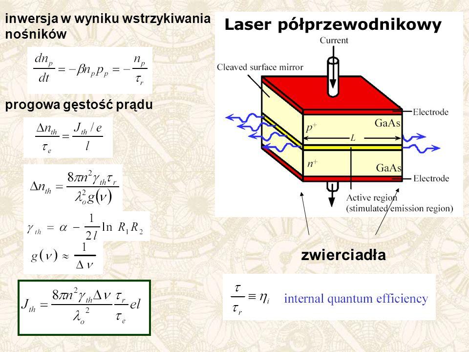 inwersja w wyniku wstrzykiwania nośników progowa gęstość prądu zwierciadła Laser półprzewodnikowy