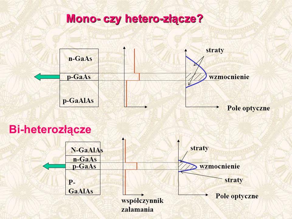 n-GaAs p-GaAlAs p-GaAs Pole optyczne wzmocnienie straty n-GaAs P- GaAlAs p-GaAs Pole optyczne wzmocnienie N-GaAlAs straty współczynnik załamania Bi-heterozłącze Mono- czy hetero-złącze?