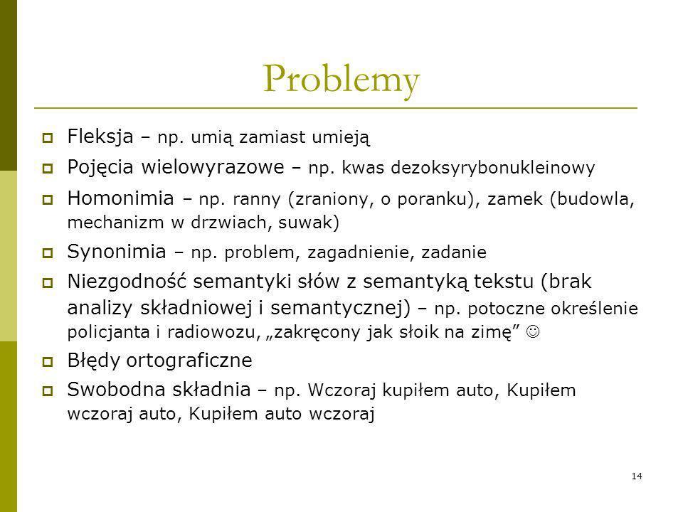 14 Problemy Fleksja – np. umią zamiast umieją Pojęcia wielowyrazowe – np. kwas dezoksyrybonukleinowy Homonimia – np. ranny (zraniony, o poranku), zame
