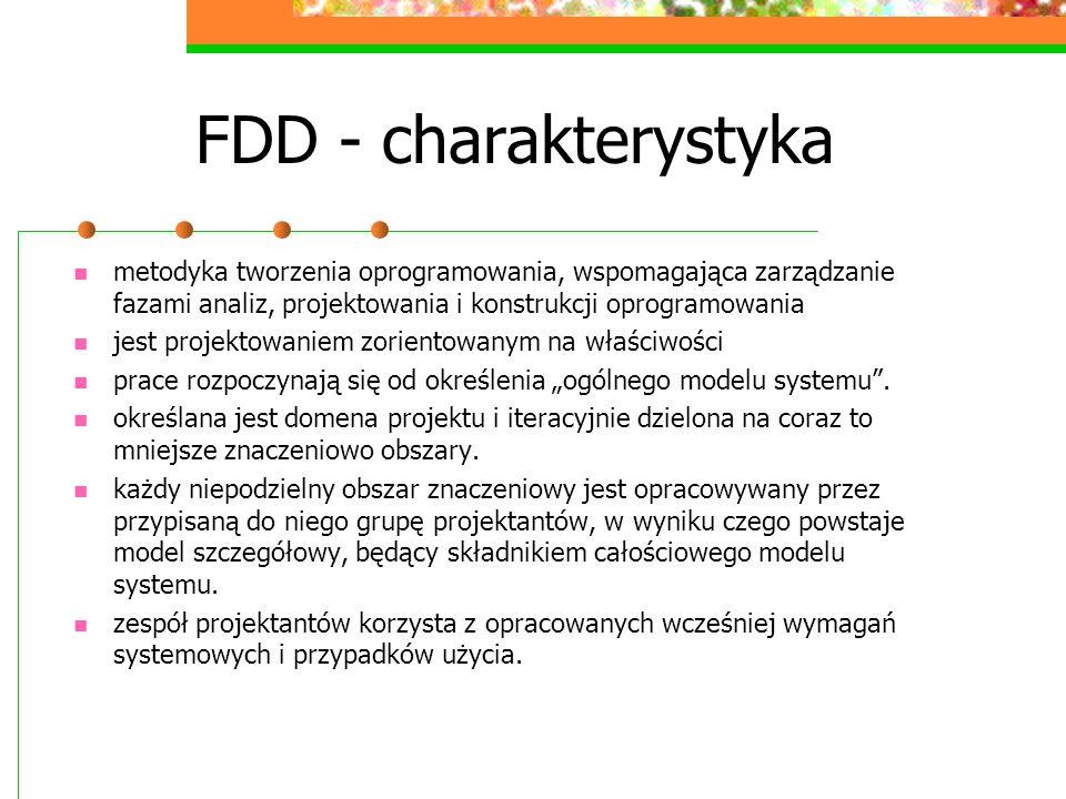 FDD - charakterystyka metodyka tworzenia oprogramowania, wspomagająca zarządzanie fazami analiz, projektowania i konstrukcji oprogramowania jest proje