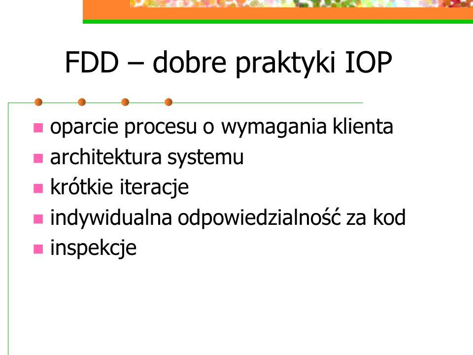 FDD – dobre praktyki IOP oparcie procesu o wymagania klienta architektura systemu krótkie iteracje indywidualna odpowiedzialność za kod inspekcje