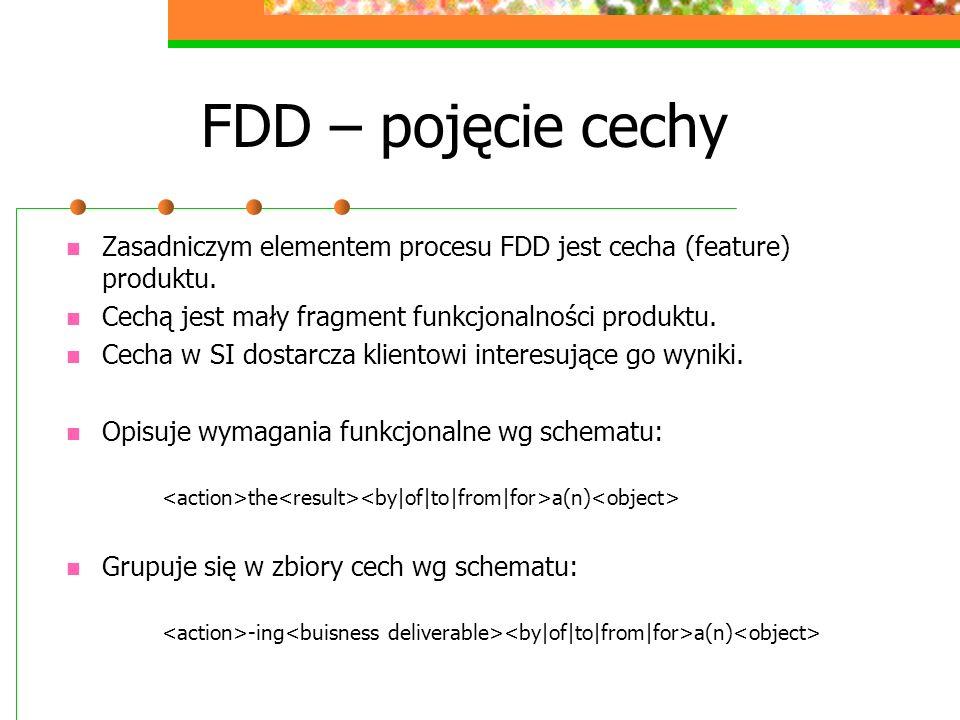 FDD – pojęcie cechy Zasadniczym elementem procesu FDD jest cecha (feature) produktu. Cechą jest mały fragment funkcjonalności produktu. Cecha w SI dos