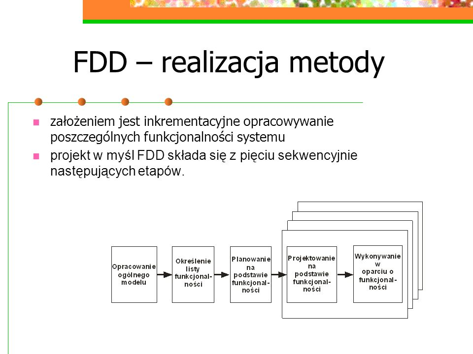FDD – realizacja metody założeniem jest inkrementacyjne opracowywanie poszczególnych funkcjonalności systemu projekt w myśl FDD składa się z pięciu se