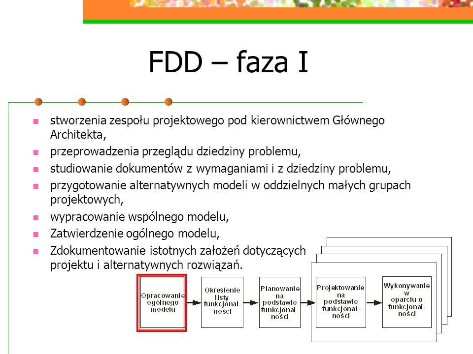 FDD – faza I stworzenia zespołu projektowego pod kierownictwem Głównego Architekta, przeprowadzenia przeglądu dziedziny problemu, studiowanie dokument