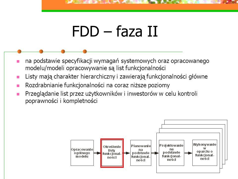 FDD – faza II na podstawie specyfikacji wymagań systemowych oraz opracowanego modelu/modeli opracowywanie są list funkcjonalności Listy mają charakter