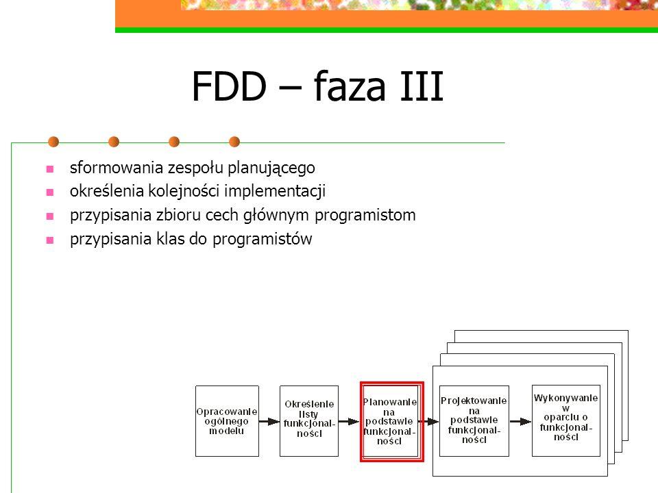 FDD – faza III sformowania zespołu planującego określenia kolejności implementacji przypisania zbioru cech głównym programistom przypisania klas do pr
