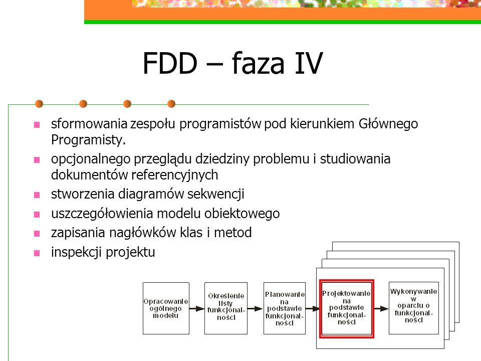 FDD – faza IV sformowania zespołu programistów pod kierunkiem Głównego Programisty. opcjonalnego przeglądu dziedziny problemu i studiowania dokumentów