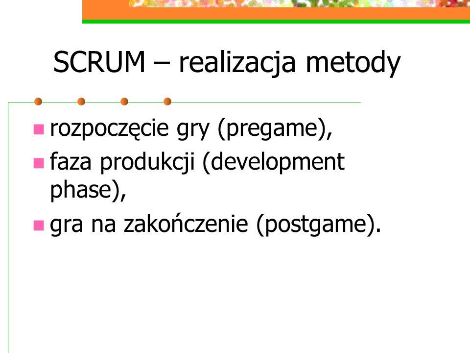 SCRUM – realizacja metody rozpoczęcie gry (pregame), faza produkcji (development phase), gra na zakończenie (postgame).