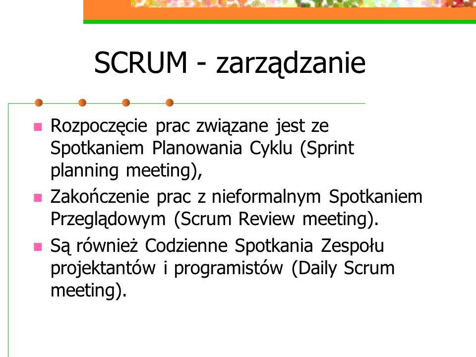 SCRUM - zarządzanie Rozpoczęcie prac związane jest ze Spotkaniem Planowania Cyklu (Sprint planning meeting), Zakończenie prac z nieformalnym Spotkanie