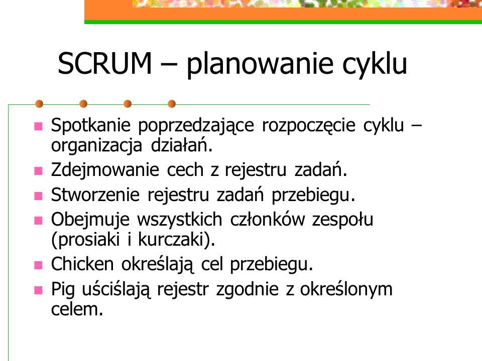 SCRUM – planowanie cyklu Spotkanie poprzedzające rozpoczęcie cyklu – organizacja działań. Zdejmowanie cech z rejestru zadań. Stworzenie rejestru zadań