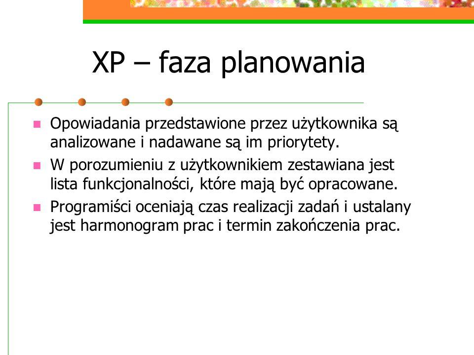 XP – faza planowania Opowiadania przedstawione przez użytkownika są analizowane i nadawane są im priorytety. W porozumieniu z użytkownikiem zestawiana