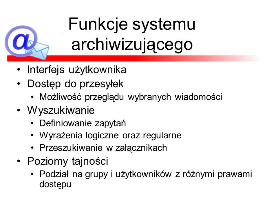 Funkcje systemu archiwizującego Interfejs użytkownika Dostęp do przesyłek Możliwość przeglądu wybranych wiadomości Wyszukiwanie Definiowanie zapytań W