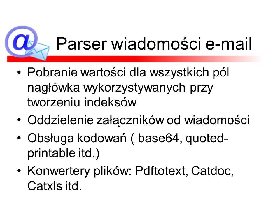 Parser wiadomości e-mail Pobranie wartości dla wszystkich pól nagłówka wykorzystywanych przy tworzeniu indeksów Oddzielenie załączników od wiadomości