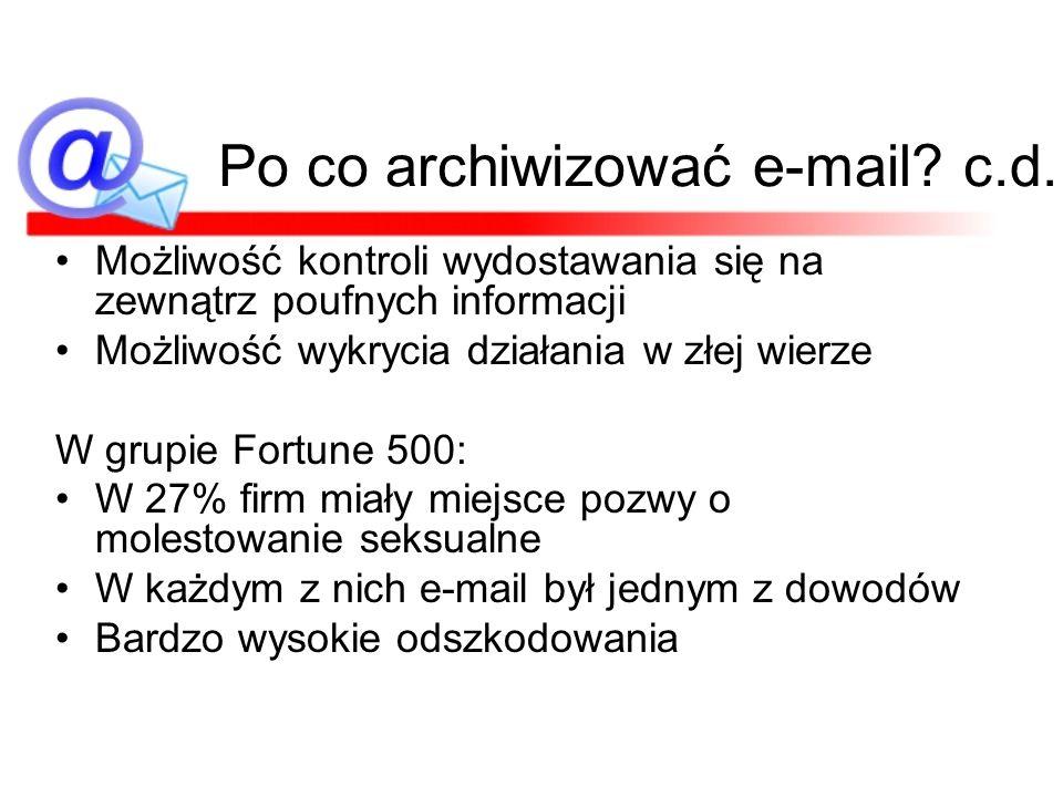 Po co archiwizować e-mail? c.d. Możliwość kontroli wydostawania się na zewnątrz poufnych informacji Możliwość wykrycia działania w złej wierze W grupi