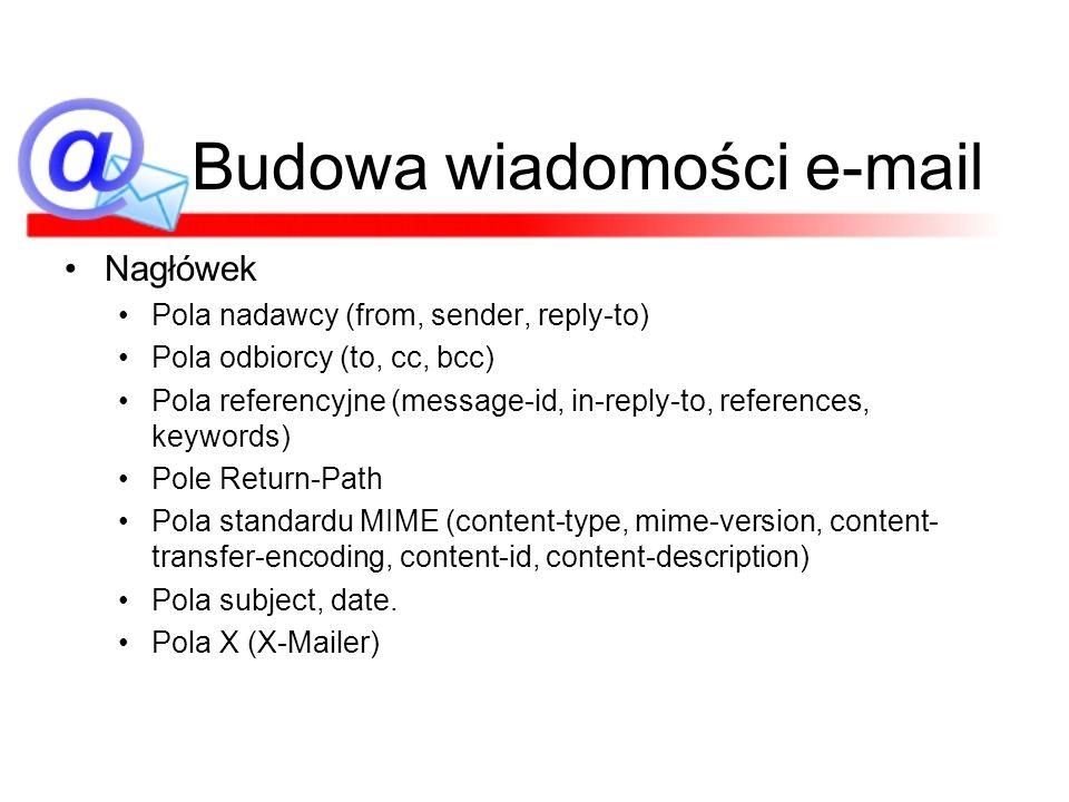 Budowa wiadomości e-mail Nagłówek Pola nadawcy (from, sender, reply-to) Pola odbiorcy (to, cc, bcc) Pola referencyjne (message-id, in-reply-to, refere