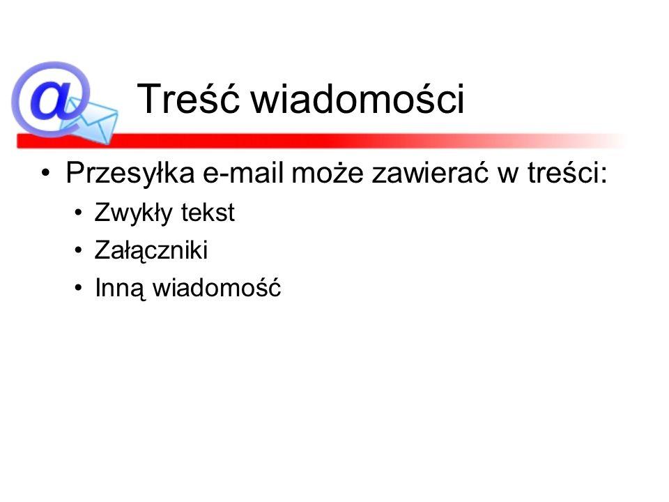 Treść wiadomości Przesyłka e-mail może zawierać w treści: Zwykły tekst Załączniki Inną wiadomość