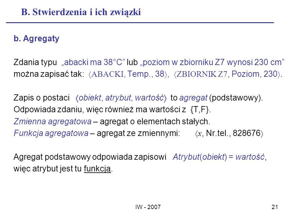 IW - 200721 B. Stwierdzenia i ich związki b. Agregaty Zdania typu abacki ma 38°C lub poziom w zbiorniku Z7 wynosi 230 cm można zapisać tak: ABACKI, Te