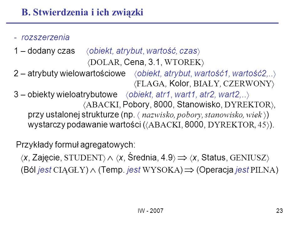 IW - 200723 B. Stwierdzenia i ich związki - rozszerzenia 1 – dodany czas obiekt, atrybut, wartość, czas DOLAR, Cena, 3.1, WTOREK 2 – atrybuty wielowar