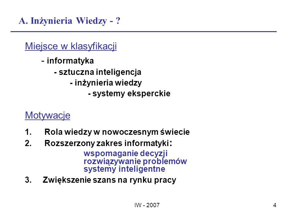 IW - 20074 A. Inżynieria Wiedzy - ? Motywacje 1.Rola wiedzy w nowoczesnym świecie 2.Rozszerzony zakres informatyki : wspomaganie decyzji rozwiązywanie