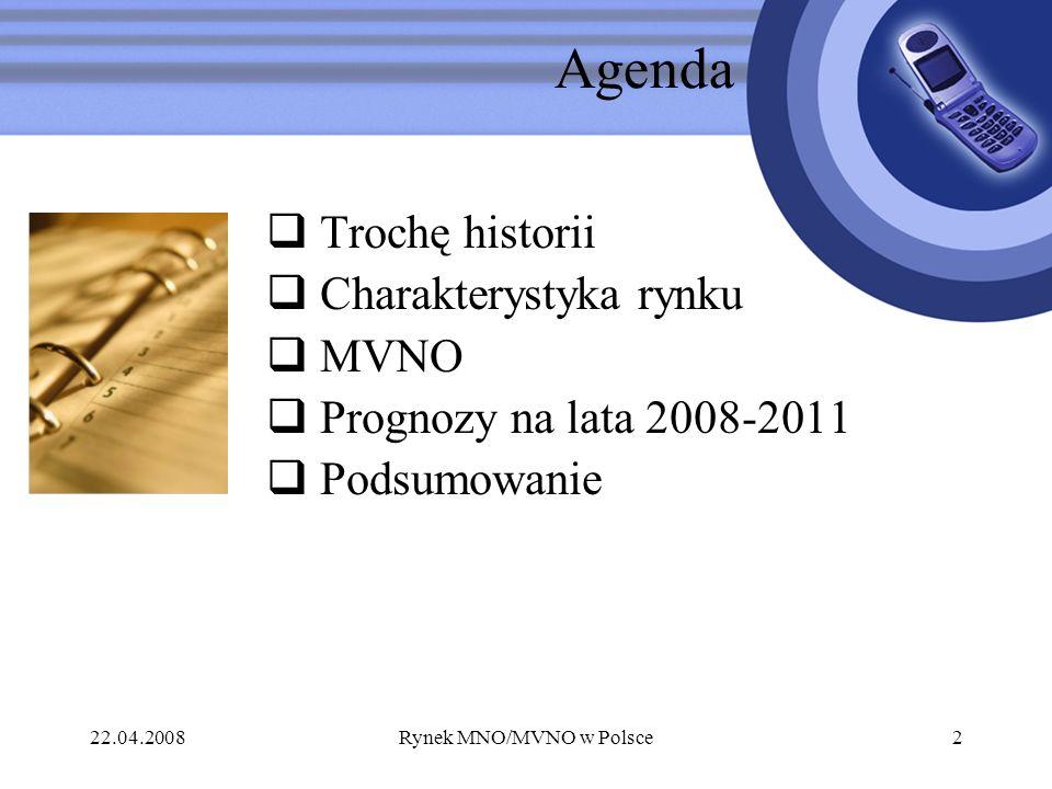 22.04.2008Rynek MNO/MVNO w Polsce2 Agenda Trochę historii Charakterystyka rynku MVNO Prognozy na lata 2008-2011 Podsumowanie