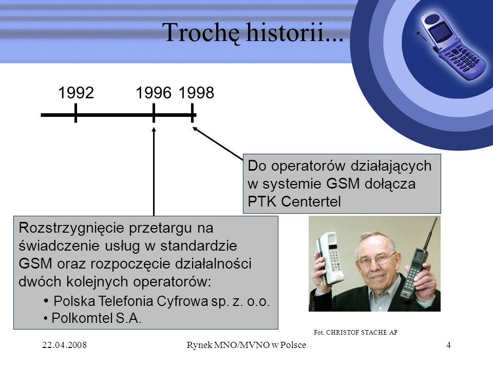 22.04.2008Rynek MNO/MVNO w Polsce4 Trochę historii... 1992 Rozstrzygnięcie przetargu na świadczenie usług w standardzie GSM oraz rozpoczęcie działalno
