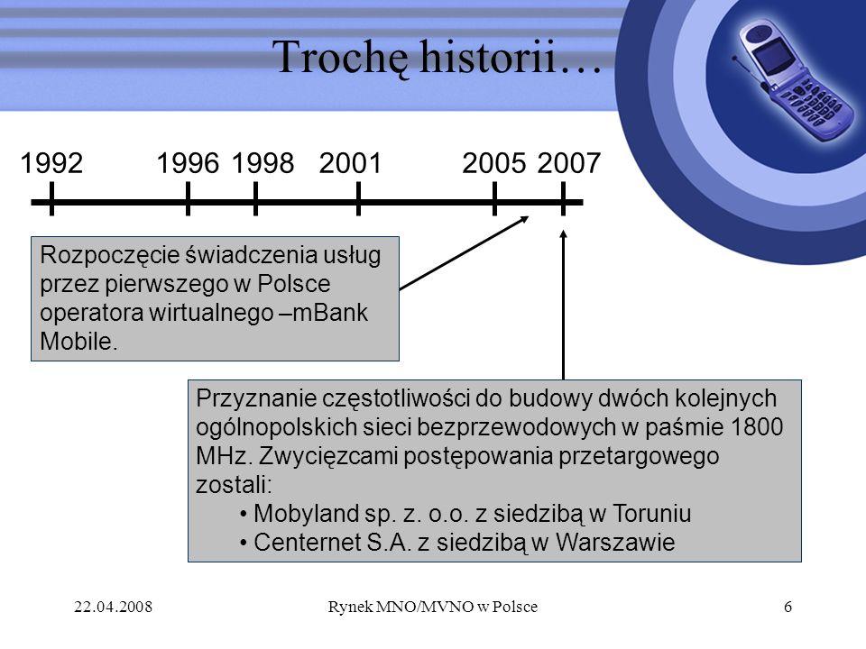 22.04.2008Rynek MNO/MVNO w Polsce6 Trochę historii… 199219961998200120052007 Rozpoczęcie świadczenia usług przez pierwszego w Polsce operatora wirtual