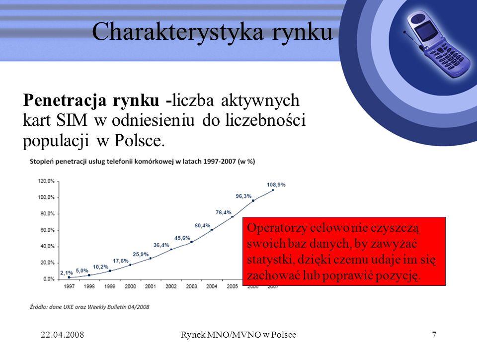 22.04.2008Rynek MNO/MVNO w Polsce7 Charakterystyka rynku Operatorzy celowo nie czyszczą swoich baz danych, by zawyżać statystki, dzięki czemu udaje im