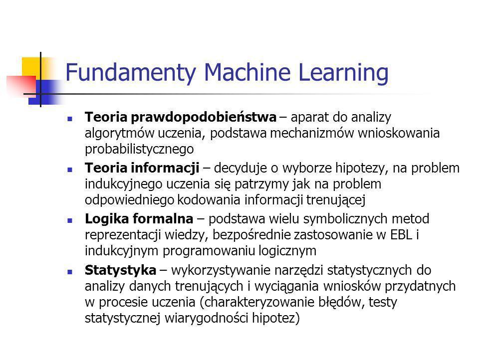 Fundamenty Machine Learning Teoria prawdopodobieństwa – aparat do analizy algorytmów uczenia, podstawa mechanizmów wnioskowania probabilistycznego Teo