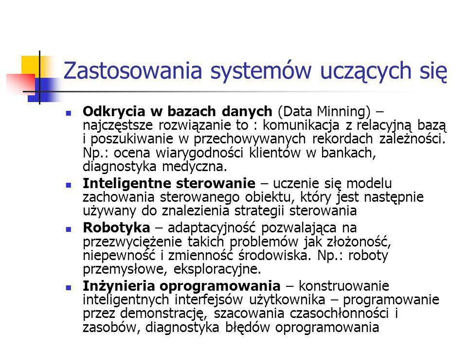 Zastosowania systemów uczących się Odkrycia w bazach danych (Data Minning) – najczęstsze rozwiązanie to : komunikacja z relacyjną bazą i poszukiwanie