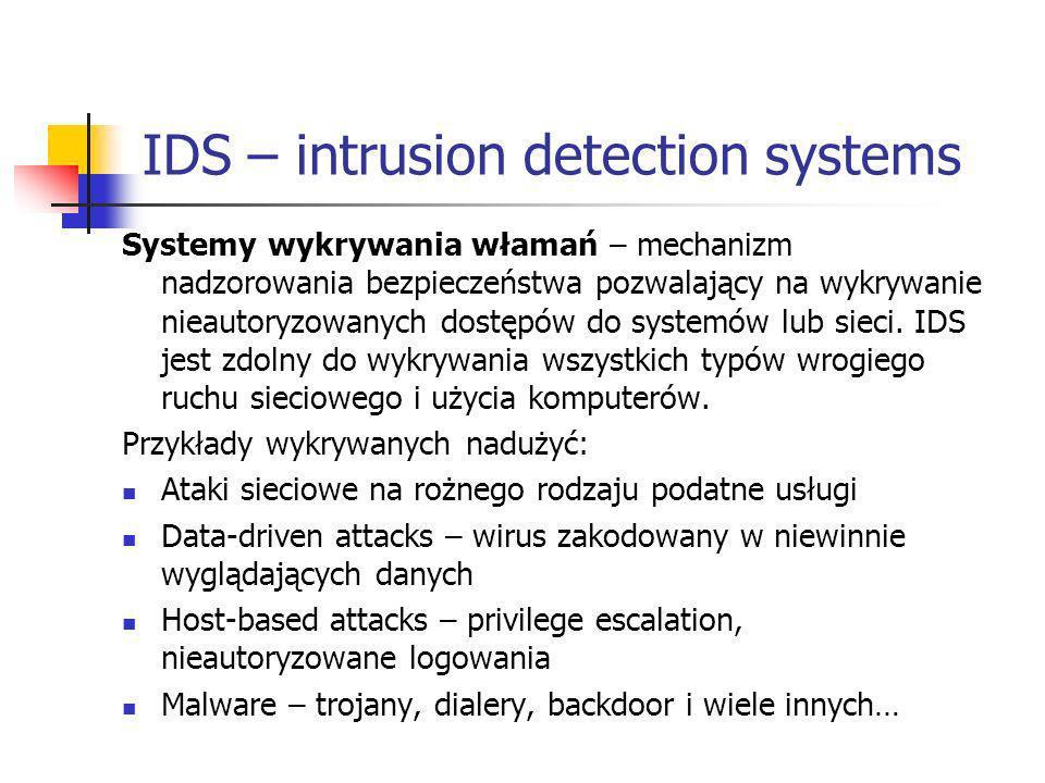 IDS – intrusion detection systems Systemy wykrywania włamań – mechanizm nadzorowania bezpieczeństwa pozwalający na wykrywanie nieautoryzowanych dostęp
