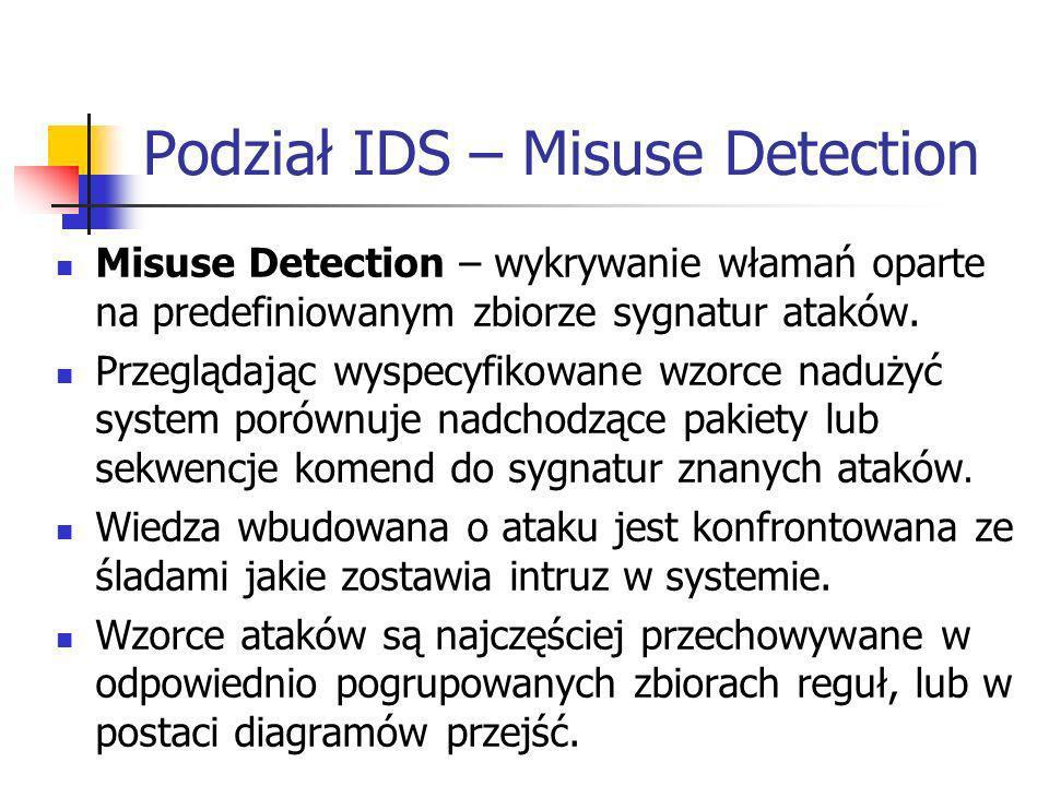 Podział IDS – Misuse Detection Misuse Detection – wykrywanie włamań oparte na predefiniowanym zbiorze sygnatur ataków. Przeglądając wyspecyfikowane wz