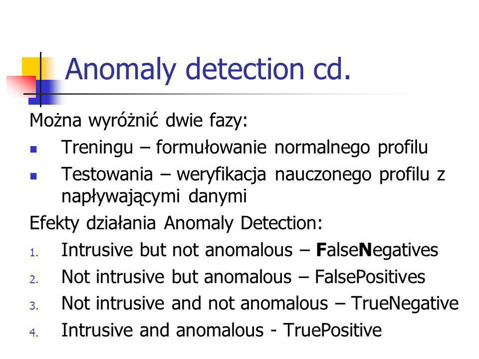 Anomaly detection cd. Można wyróżnić dwie fazy: Treningu – formułowanie normalnego profilu Testowania – weryfikacja nauczonego profilu z napływającymi