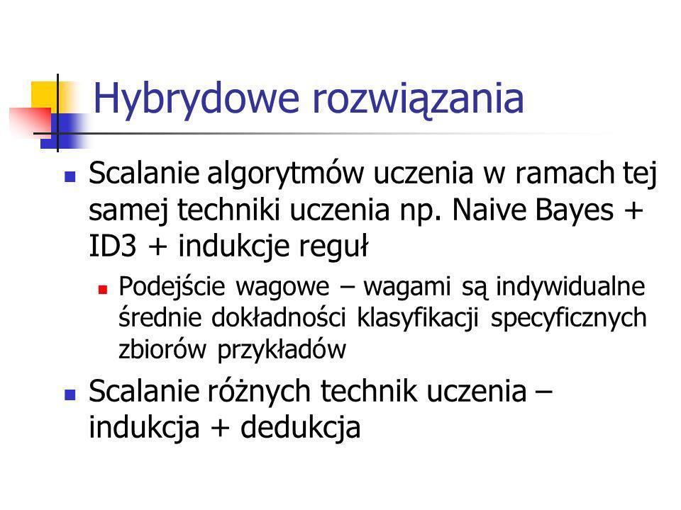 Hybrydowe rozwiązania Scalanie algorytmów uczenia w ramach tej samej techniki uczenia np. Naive Bayes + ID3 + indukcje reguł Podejście wagowe – wagami
