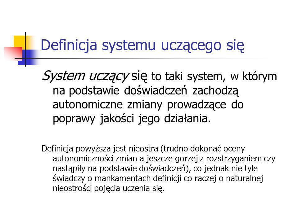 Definicja systemu uczącego się System uczący się to taki system, w którym na podstawie doświadczeń zachodzą autonomiczne zmiany prowadzące do poprawy