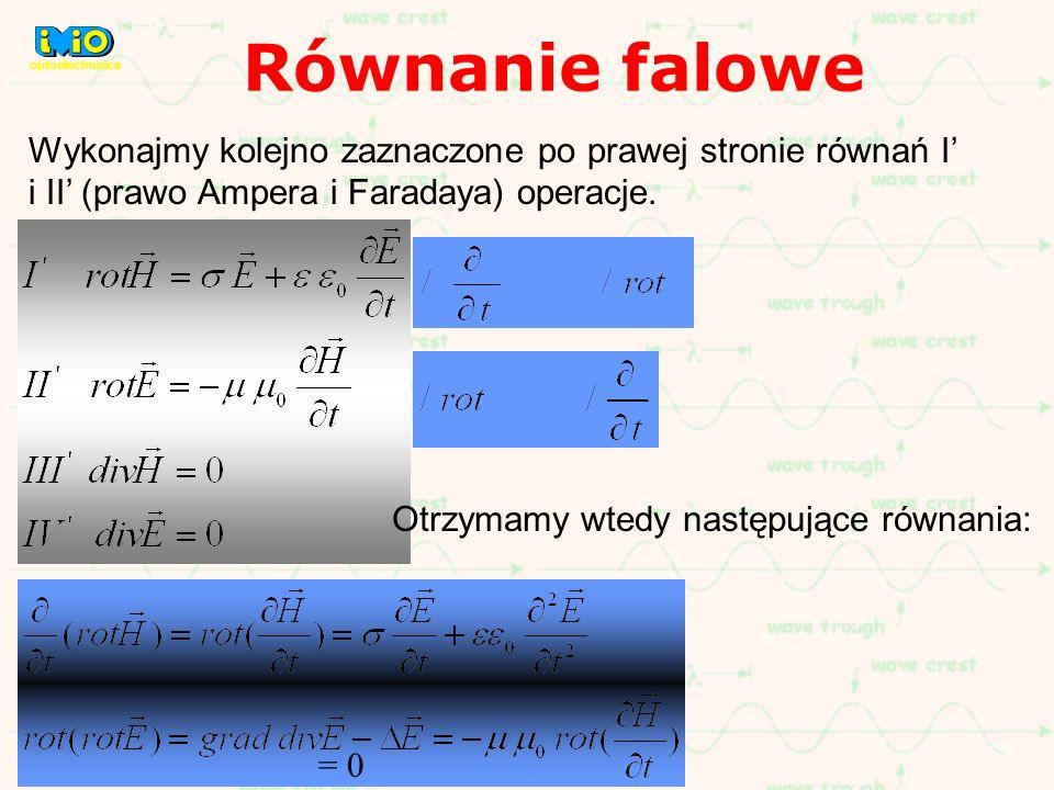Wykonajmy kolejno zaznaczone po prawej stronie równań I i II (prawo Ampera i Faradaya) operacje. = 0 Otrzymamy wtedy następujące równania: Równanie fa