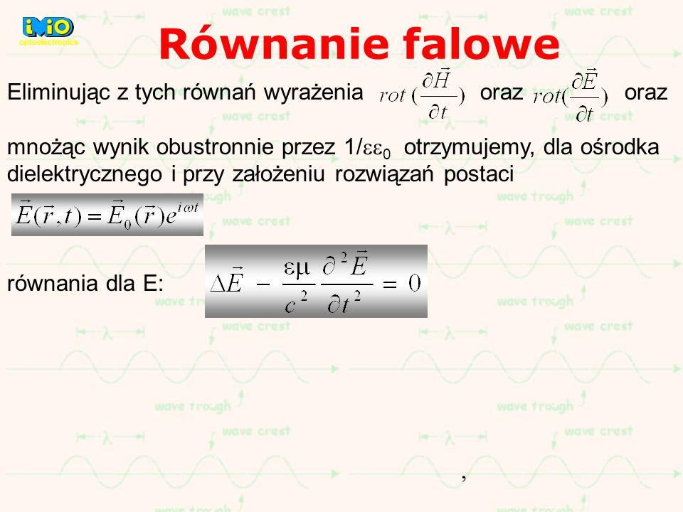 Eliminując z tych równań wyrażenia oraz oraz mnożąc wynik obustronnie przez 1/ 0 otrzymujemy, dla ośrodka dielektrycznego i przy założeniu rozwiązań p