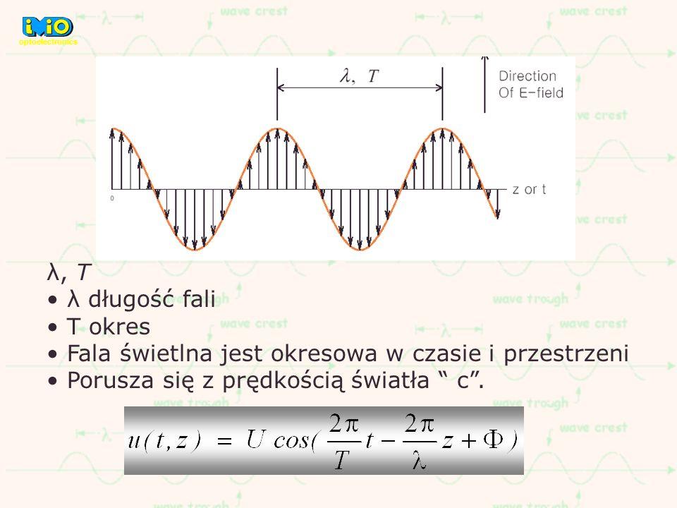 λ, T λ długość fali T okres Fala świetlna jest okresowa w czasie i przestrzeni Porusza się z prędkością światła c. optoelectronics