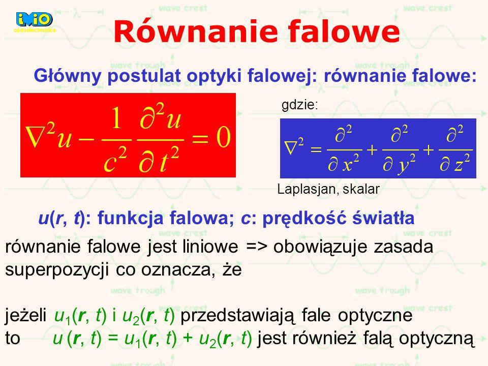 Główny postulat optyki falowej: równanie falowe: u(r, t): funkcja falowa; c: prędkość światła równanie falowe jest liniowe => obowiązuje zasada superp